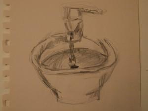 Waschbecken, Zeichnung Bleitstift