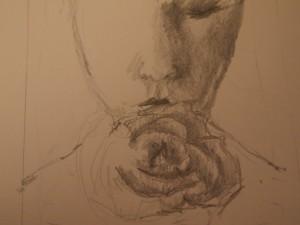 Frau mit Blume, Zeichnung Bleistift,