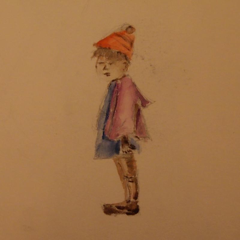 zeichnung kind mit mütze aquarell